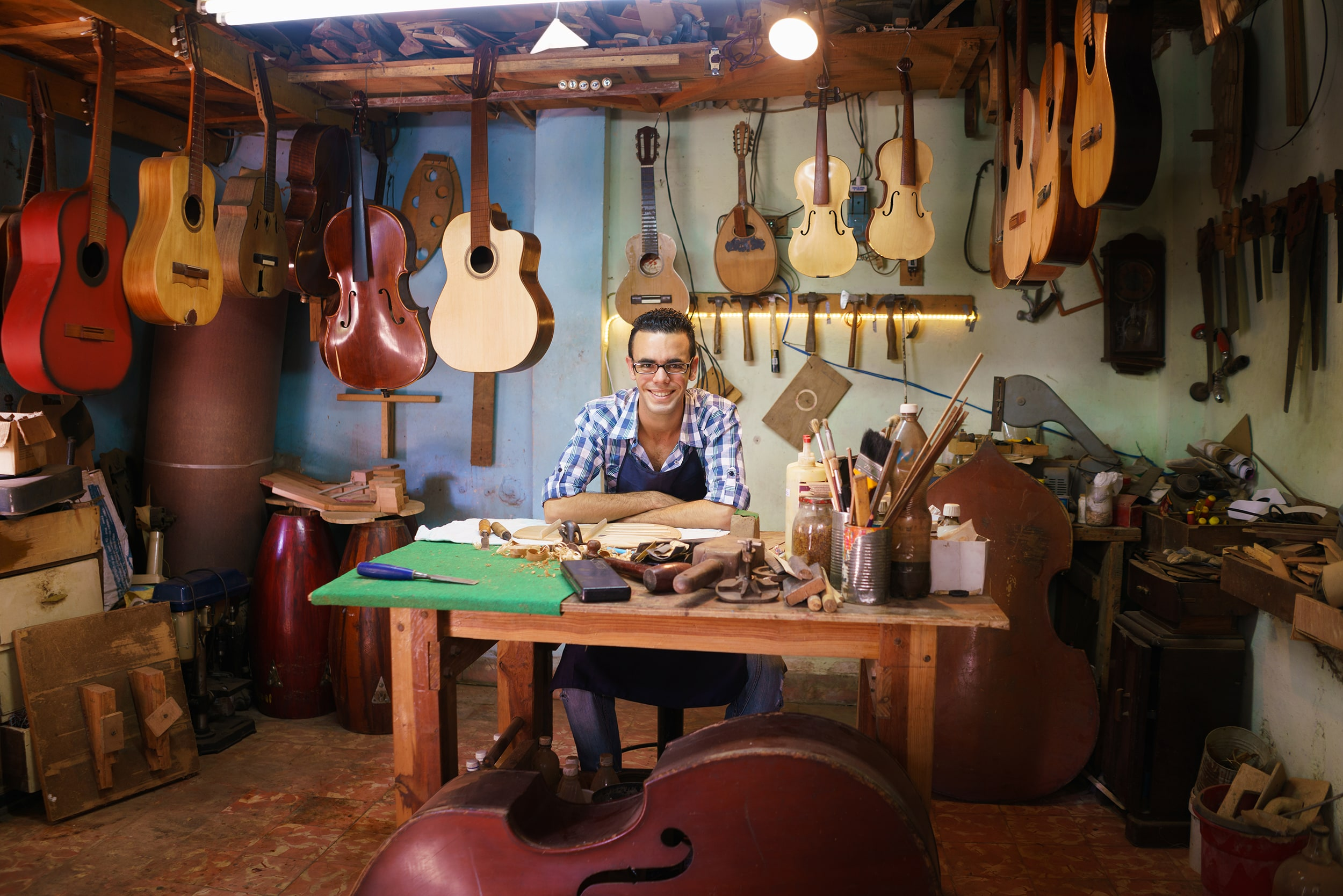 Man in Luthier Shop