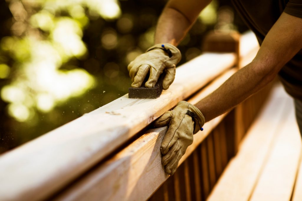 Sanding Rail of Wooden Deck